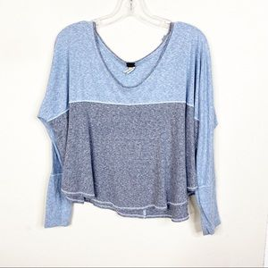 We the Free XS Blue Oversized Long Sleeve Top